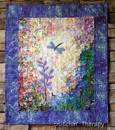 Stitchin' Therapy: Watercolor Quilts  Renewed The dragonfly is thread painted