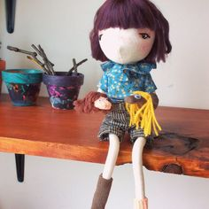 This is Cassie,She can sit or stand with support and is inches tall. With her wire frame, she can be posed and therefore show more of her personality. Sock Puppets, Wire Frame, Handmade Dolls, Knitting Yarn, Cassie, Personality, Plush, Delicate, Wool