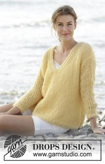 "Summer Melody - Knitted DROPS jumper in stockinette st with V-neck and vents in ""Melody"". Size: S - XXXL. - Free pattern by DROPS Design"