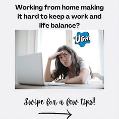"Kamri, Self-Care/Growth Coach on Instagram: ""Working from home can make maintaining a work life/balance very difficult. Here are a few tips to help you get started! Feel like you…"" Work Life Balance, Homemaking, Self Care, Get Started, Like You, Feelings, Space, Tips, How To Make"
