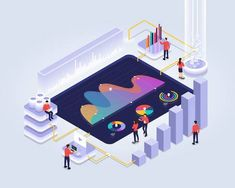 Isometric design concept people interactive working analyzing statistics. Data visualization 3d object. Vector illustrations. Graphic Illustration, Vector Illustrations, Process Chart, Label Shapes, Isometric Design, Future Trends, Modern Business Cards, Interactive Design, Data Visualization