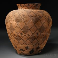 Native American Design, Human Figures, Gourds, American Indians, Baskets, Auction, Carving, Pottery, Textiles