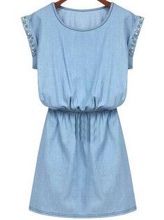Vestido denim cristales manga corta-azul