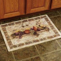 Kitchen Some Fruits Design Kitchen Floor Mats Design Above Ceramic Floor Under Wooden Kitchen Cabinet Design Ideas The Application of Kitchen Floor Mats