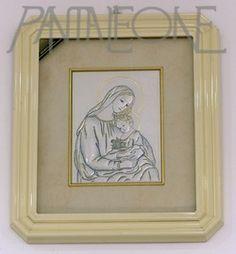 Quadro argento. Madonna con Bambino. Cornice in legno P8921ASA