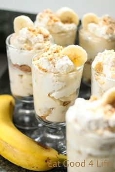 This is ready in no time. One of our favorite indulgent dessert for the holidays. There are never leftovers. Desserts The best banana pudding ever Individual Desserts, Mini Desserts, Just Desserts, Dessert Recipes, Shot Glass Desserts, Parfait Desserts, Italian Desserts, Best Banana Pudding, Banana Pudding Recipes