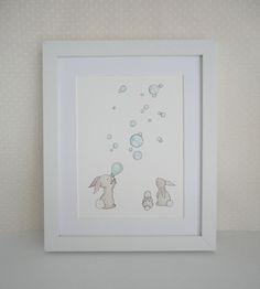 Childrens Nursery 10 x 8 Fine Art Giclee Print, Bunnies & Bubbles. £15.00, via Etsy.