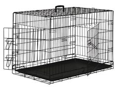 """Premium Folding Black Dog Crate w/ ABS Tray Pan - Double Door - 48"""" Length - http://www.thepuppy.org/premium-folding-black-dog-crate-w-abs-tray-pan-double-door-48-length/"""