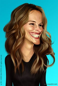 Julia Roberts..FOLLOW THIS BOARD FOR GREAT CARICATURES OR ANY OF OUR OTHER CARICATURE BOARDS. WE HAVE A FEW SEPERATED BY THINGS LIKE ACTORS, MUSICIANS, POLITICS. SPORTS AND MORE...CHECK 'EM OUT!!
