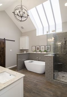 This skylight has the surrounding bath it finally deserves.