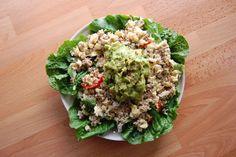 guacamole and stir fry salad