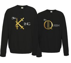 Game of Thrones inspired His and Her King and Queen matching black sweatshirts set by iganiDesign on Etsy