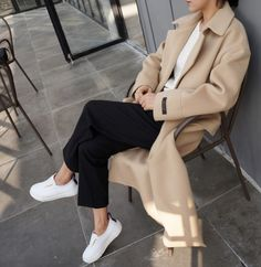 camel coat, cropped black pants & white sneakers #style #fashion #minimal