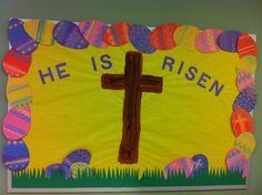 Preschool Easter bulletin board.