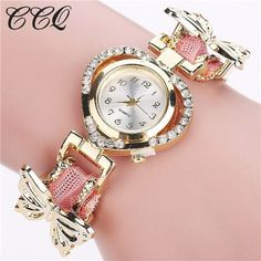 CCQ Women Watches Fashion Gold Braided Rope Bracelet Watch Ladies Butterfly Dress Quartz Wristwatch Clock Relogio Feminino