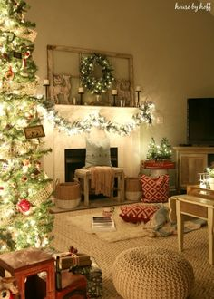 Christmas Nights Tour - House by Hoff.  I like the lighted roping how it swags from the fireplace mantel.  Great mantel too with vintage window