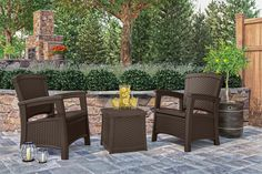 Suncast ELEMENTS - outdoor patio decor chairs and endtable