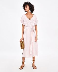 Image 1 of STRIPED MIDI DRESS from Zara