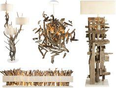 driftwood lights and lamps http://dornob.com/driftwood-decor-24-dramatic-art-lamps-lighting-designs/#axzz34s4jKqQh
