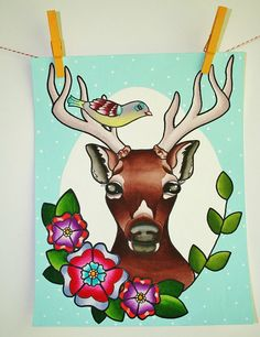 This original Hello Deer painting is bright and cheerful, and would make the perfect addition to your home! Featuring a sweet little bird atop