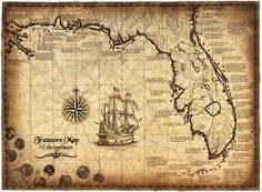 """Treasure Map Of The Southeast Limited Edition, 16"""" x 22"""" Treasure Map, Shipwrecks, Shipwreck Map, Gulf of Mexico, Old Maps, Treasure Coins by GeographicsArt"""