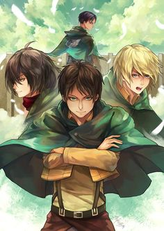 Attack on titan, Levi, Mikasa, Eren,Armin. >>> that's the mysterious love interest in the background (he's going to end up with the main character). Armin, Eren E Levi, Eren And Mikasa, Manga Anime, Dc Anime, Anime Nerd, Dark Fantasy, Fantasy Art, Thriller