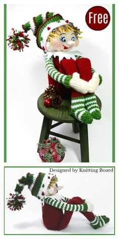 Amigurumi Elf Free Loom Knitting Pattern Knitting as a relaxing but at Knitted Dolls Free, Knitted Doll Patterns, Loom Patterns, Knitting Patterns Free, Free Knitting, Knitted Christmas Decorations, Christmas Crochet Patterns, Christmas Toys, Crochet Christmas