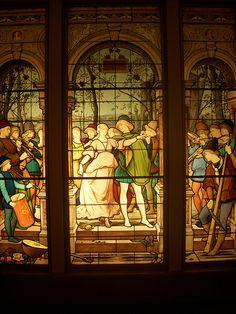 stain-glass lovers scene.