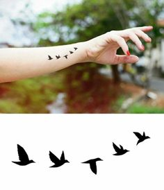 Graphic Design Flying Birds Temporary Tattoo -Jewellery Tattoo - Body - Wrist - Ankle Tattoo - ♥ ITEM DESCRIPTION ♥ Our temporary tattoos are printed by an FDA-approved, quality printer, and - Mini Tattoos, Trendy Tattoos, Sexy Tattoos, Body Art Tattoos, Small Tattoos, Tatoos, Tiny Bird Tattoos, Hand Tattoo, Ankle Tattoo