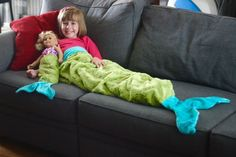 Learn to sew a Mermaid Tail Blanket. Free printable pattern plus video tutorial.