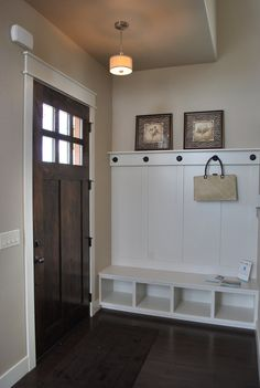 Love this front door for the River House! And the storage unit too! This is attractive enough to be at the front door, but still very practical for coats and bags that never seem to make it into a closet! Home Renovation, Home Remodeling, Kitchen Renovations, Entry Way Design, Mudroom, Home Projects, Family Room, House Plans, Sweet Home