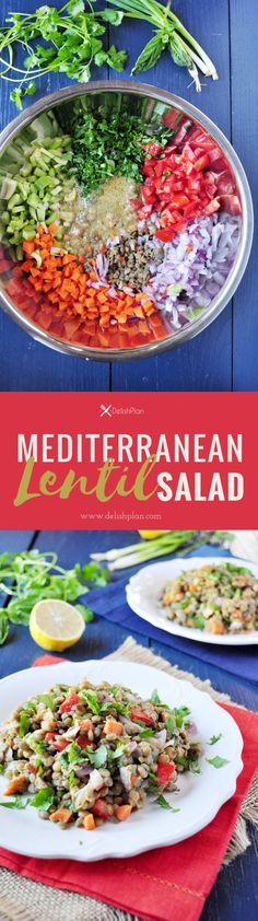 This is a delicious lentil salad that's wonderful when served as a side as well as nutritiously satisfying when served as a main. Lentil Recipes, Vegetarian Recipes Easy, Healthy Recipes, Delicious Recipes, Free Recipes, Sweets Recipes, Healthy Options, Drink Recipes, Salad Recipes