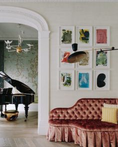 Corridor Sofa - At Home: Maddux Creative London House. Grand piano, picture gallery and chevron wooden floor. London Living Room, Room London, London House, Design Salon, Eclectic Living Room, Living Rooms, Interior Photography, Drawing Room, Home Interior Design