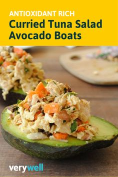 Who needs bread when you can serve your curried tuna salad in an avocado boat and reap the most anti-oxidant benefits? Here's a delicious curried tuna salad served in an edible bowl. It's antioxidant-rich, and anti-inflammatory with a healthy dose of omega-3 fatty acids. Get the full recipe here: