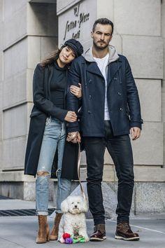 Couple Outfits, Winter Outfits, Stylish Couple, Autumn Inspiration, Dog Walking, Autumn Fashion, Fall Winter, Bomber Jacket, Winter Jackets