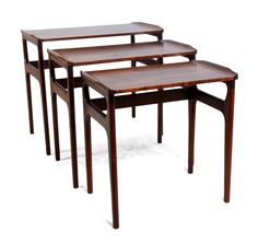 Set of Three Heltborg Mobler Rosewood Nesting Tables by Domus Dancia Retro Furniture, Antique Furniture, Nesting Tables, Mid Century Furniture, Diy And Crafts, House, Inspiration, Free Shipping, Home Decor
