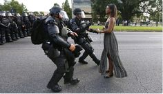 Iesha Evans at a Black Lives Matter protest in Baton Rouge, USA 2016    Photographer: Jonathan Bachman