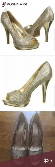 Rampage Gracee Peep Toe Platform Heals Good condition   Scratches on one side of each heal..please are picture 9 Rampage Shoes Heels