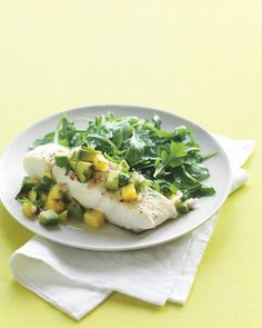 Halibut with Avocado-Pineapple Salsa - Martha Stewart Recipes