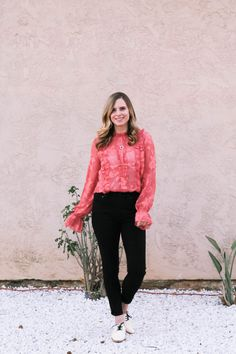Sharing this amazing ruffle blouse + the BEST ruffle blouses money can buy for this Valentine's Day! Whether you're staying in or going out, pick up this easy top to add a little polish and fun to any outfit!