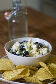 blueberry, corn, and feta salsa