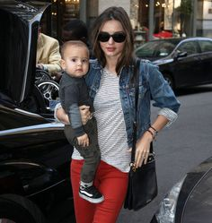Red Jeans Outfit w/Levis Jean Jacket