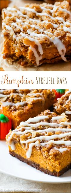Pumpkin Pie Streusel Bars! With a gingersnap crust and brown sugar streusel topping, everyone will want seconds.