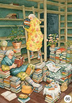 Old Lady Humor, Reading Art, Children's Book Illustration, I Love Books, Whimsical Art, Old Women, Book Worms, Illustrators, Book Art