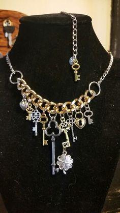 Custom Steampunk Key-Chain Gold & Silver Chain necklace...