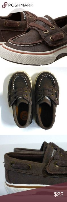 Sperry Topsider Halyard Toddler 5.5 boat shoes new New display shoes show signs of being tried on but are not worn. No box or tag. Brown Canvas upper. Hook and loop closure. Handmade construction. No marking sole. Signature logo at heel. Sperry Top-Sider Shoes