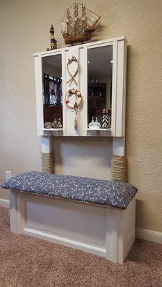 Re-purposed Door to Decorative Bench & Coat Hanger Bench Coats, Bench Decor, Small Space Organization, Small Shelves, Condo Living, Nautical Anchor, Storage Area, Coat Hanger, Custom Woodworking