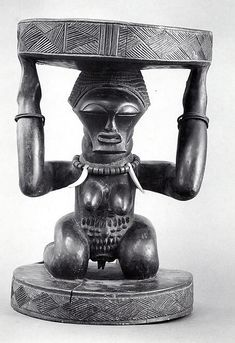 In many cultures in southeastern D.R.C.--indeed, throughout Africa--seats of leaders are important symbols of power and authority. Most of the peoples of southeastern D.R.C. trace succession and inheritance through the female line, and, accordingly, caryatid figures supporting chiefs' stools generally depict women