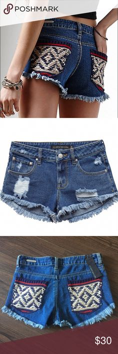 NWT Embroidered Jean Shorts PS Erin Wasson Embroidered Distresses Jean Shorts. NWT - never tried on. Perfect to hit the beach!  PacSun Shorts Jean Shorts