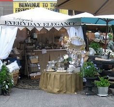 Great vintage look stall with hessian covered table
